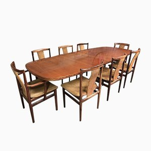 XXL Rosewood Expandable Dining Table & Chairs Set by Niels Møller & Folke Ohlsson for Gudme Mobelfabrik, 1960s