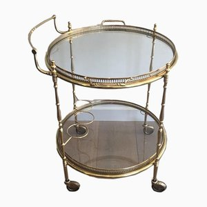 French Neoclassical Style Round Brass Drinks Trolley with Glass Shelves, 1940s
