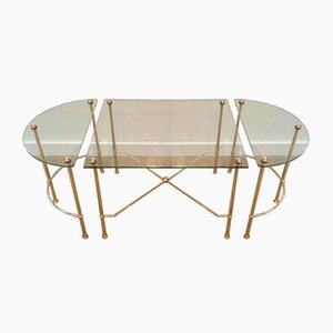 French Tripartite Brass and Glass Coffee Table by Maison Bagués, 1970s