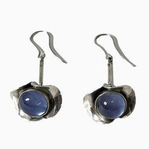 Silver and Chalcedony Earrings from Kaplans, 1954, Set of 2
