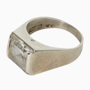 Ring aus Silber und Bergkristall von Bengt Hallberg, 1968