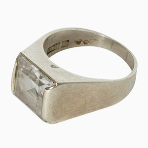 Silver and Rock Crystal Ring from Bengt Hallberg, 1968