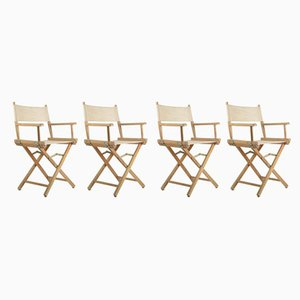 Italian Director's Armchairs in Light Wood and Cream Fabric, 1960, Set of 4