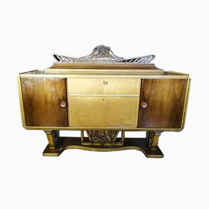 Italian Art Deco Sideboard with 2-Tone Furry Wooden Bar Cabinet, 1920s