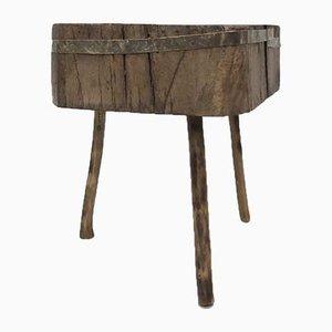 Antiker primitiver Metzgerblock aus Rohholz