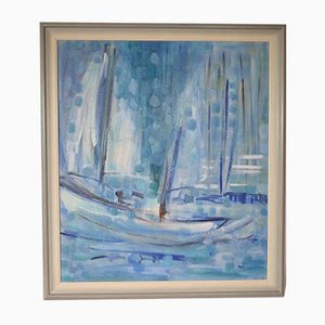 Vintage Modern Art Abstract Blue Sea Ship and Harbour Oil Painting by Mati