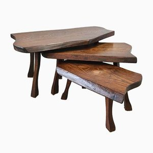 Scandinavian Oak Tree Trunk Nesting Tables, 1960s