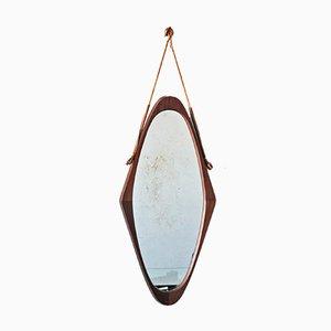 Mid-Century Scandinavian Teak Oval Mirror, 1950s