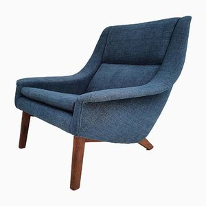 Danish Teak and Cotton Armchair, 1970s