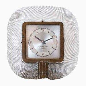 Horloge de Table Mid-Century en Verre de Murano et Laiton de Barovier & Toso