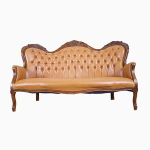Cognac Leather Chesterfield 3-Seat Sofa, 1960s