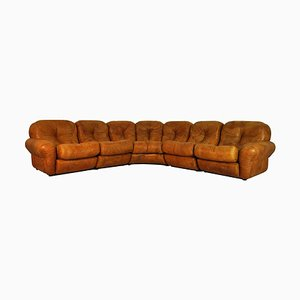 Vintage Brown Leather 7-Seat Corner Sofa Modules, 1970s, Set of 5