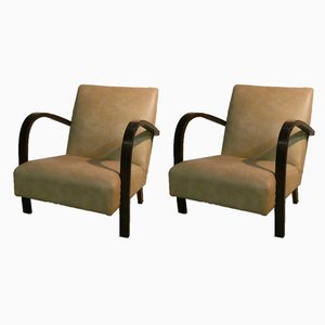 Italian Art Deco Lounge Chairs, 1930s, Set of 2