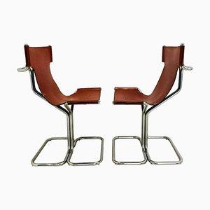 Sedute in acciaio e pelle di Guido Faleschini, anni '70, set di 4