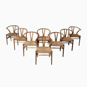 Vintage Oak and Paper Cord Wishbone or CH24 Chairs by Hans Wegner for Carl Hansen & Søn, 1960s, Set of 8