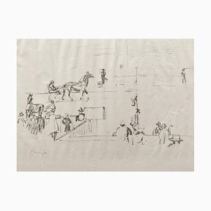 Litografía impresionista Horses No. 12 de Max Slevogt, 1911