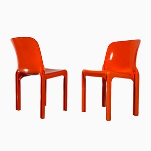 Orangefarbene Selene Stühle von Vico Magistretti für Artemide, 1970er, 4er Set