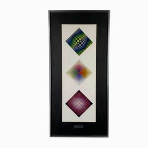 Triptych Serigraph by Victor Vasarely, 1970s