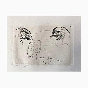 Gravure à l'Eau-Forte Impression 2 Chats par Max Slevogt, 1918