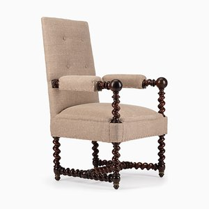Antique Napoleon III Walnut Barley Twist Armchair, 1870s