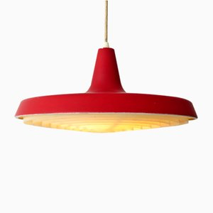 Danish Red Lacquered Metal Ceiling Lamp with Plastic Shade, 1960s