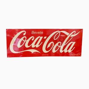 Insegna Mid-Century in metallo di Coca Cola