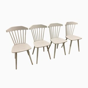 Mid-Century Italian White Lacquered Oak Dining Chairs, 1960s, Set of 4