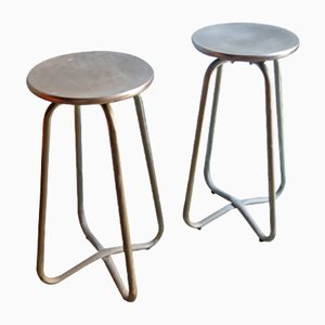 Vintage Industrial Metal Stools, Set of 2