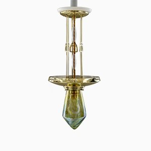 Antique Jugendstil Pendant Lamp with Loetz Glass, Vienna, 1910s