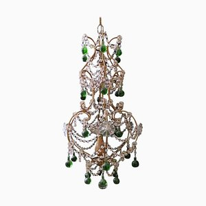 Chandelier with Glass, Wood & Iron Gilded Florentine Handicraft, 1930s