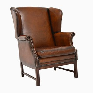 Leather Wingback Armchair, 1920s