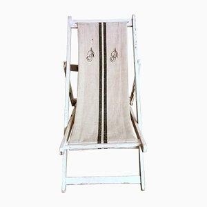 Italienischer Liegestuhl aus Rohbaumwolle & Holz, 1950er