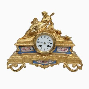 Horloge de Cheminée Napoléon III en Bronze Doré et Porcelaine de Vincenti, France, 1860s
