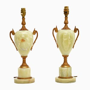 Onyx Table Lamps, 1950s, Set of 2
