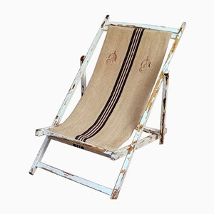 Italian Deck Chair in Raw Cotton and Wood, 1950s