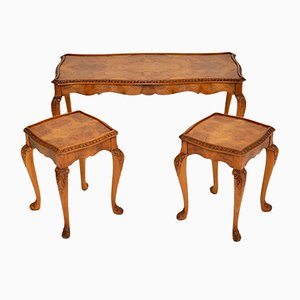 Queen Anne Style Walnut Nesting Coffee Tables, 1930s