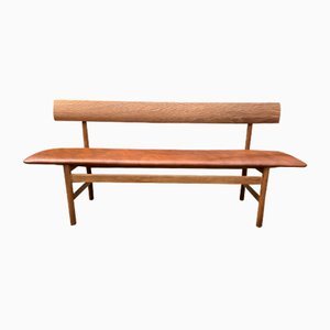Oak and Cognac Leather Model 3171 Bench by Børge Mogensen for Fredericia, 1960s