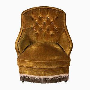 Vintage Napoleon III Style Mustard Velvet Lounge Chair, 1950s