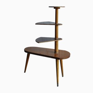 Vintage Wood Plant Stand, 1950s