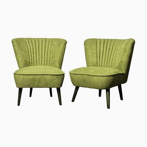 Grüne Cocktail Sessel, 1950er, 2er Set