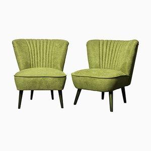 Poltrone da cocktail verdi, anni '50, set di 2