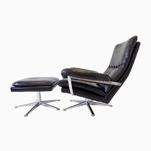 Black Leather Lounge Chair & Ottoman by Werner Langenfeld for ESA, 1960s, Set of 2