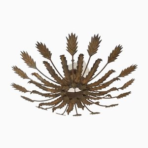 Spanish Gilt Metal Suspension Lamp or Wall Light with Plant Motifs from Ferro Art, 1960s