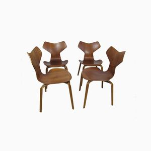 Grand Prix Teak Dining Chairs by Arne Jacobsen for Fritz Hansen, 1950s, Set of 4