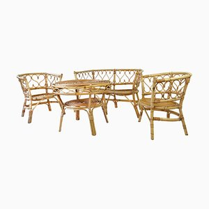 Mid-Century Rattan Bambus Armchairs, Table & Bench, 1960s, Set of 4