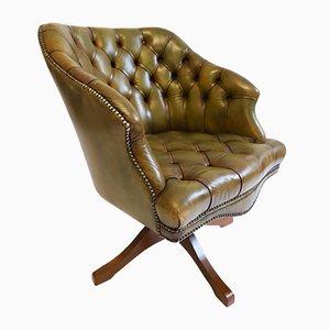 Englischer Vintage Olivgrüner Leder Drehstuhl von Hillcrest