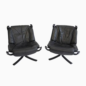 Leather Falcon Chairs by Sigurd Ressell for Vatne Møbler, 1960s, Set of 2