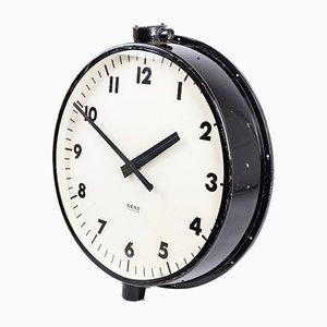 Grande Horloge Industrielle Noire de Gents de Leicester, 1940s
