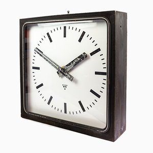 Black Factory Illuminated Wall Clock from Pragotron, 1960s