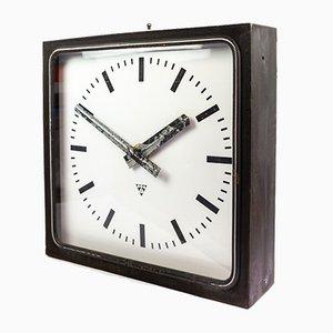 Black Factory Illuminated Wall Clock from Pragotron, 1960s